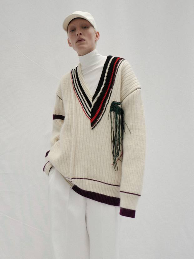 Lacoste oversized sweater, £680, poloneck, £120, and trousers, £410