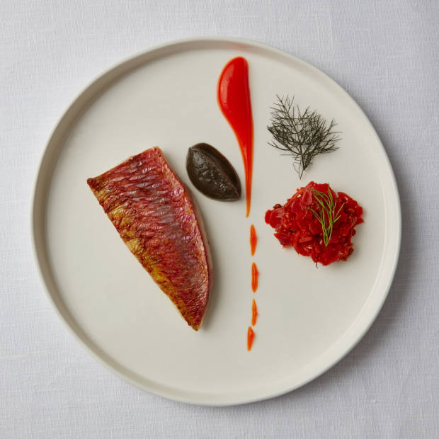 A dish of red mullet, red pepper fluid gel, burnt aubergine puree and carrots