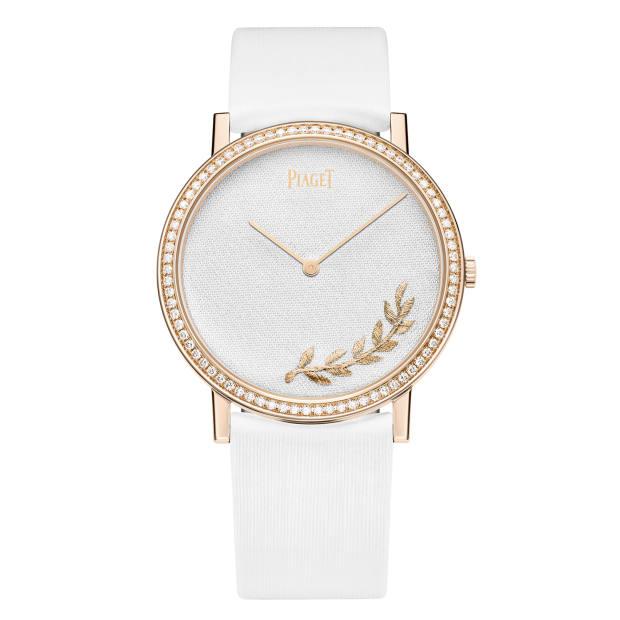 Piaget rose gold, gold thread, diamond and silk Altiplano watch on satin strap, £23,700