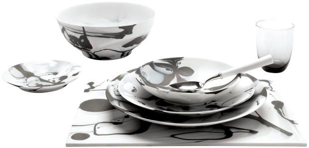 Porcelain Pop Art tableware, from €210 a piece