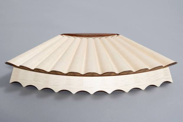 The Edward Barnsley Workshop sycamore and walnut Clamshell jewellery box, about £10,000