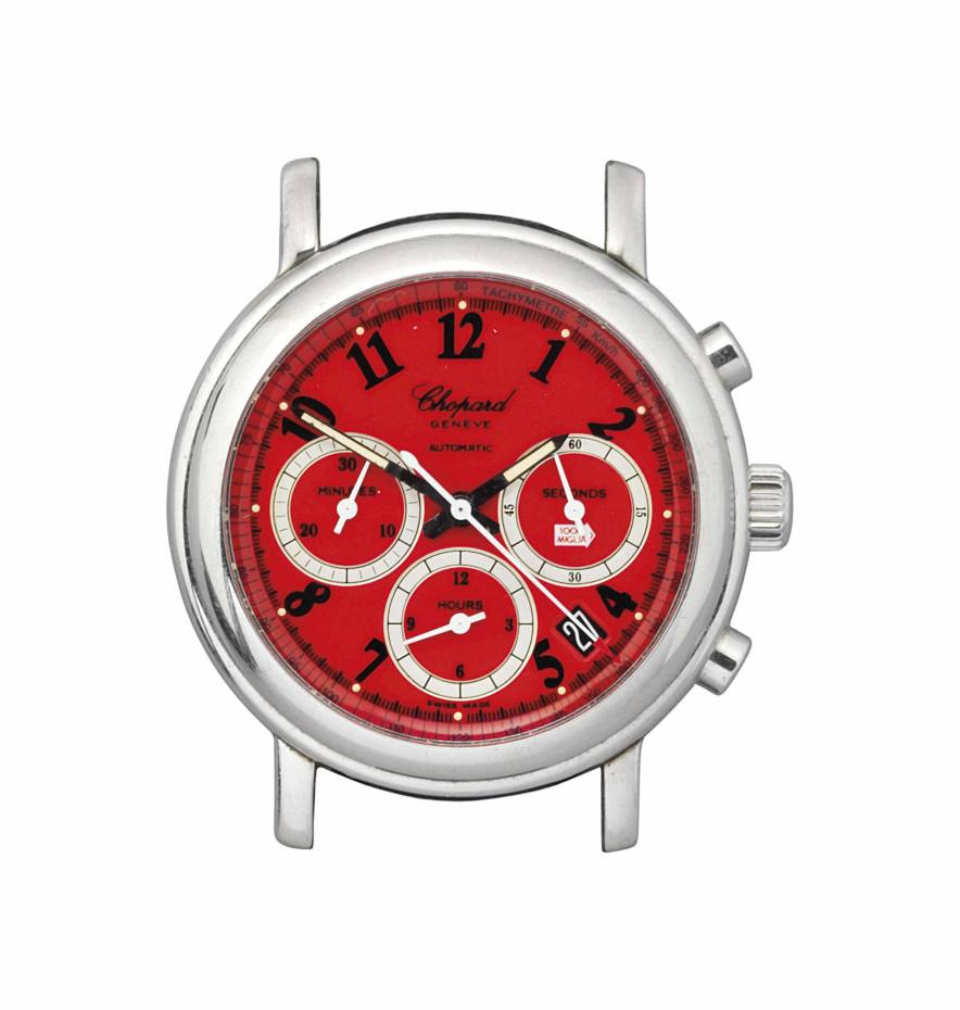 This red-dialled Chopard chronograph is a memento from the Mille Miglia classic car rally, £1,000-£1,500
