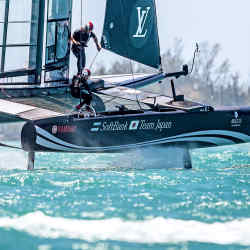 SoftBank Team Japan, one of the Challengers in the 35th America's Cup, in practice off Bermuda