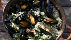 Article image: Mussel and potato risotto — a Rowley Leigh recipe