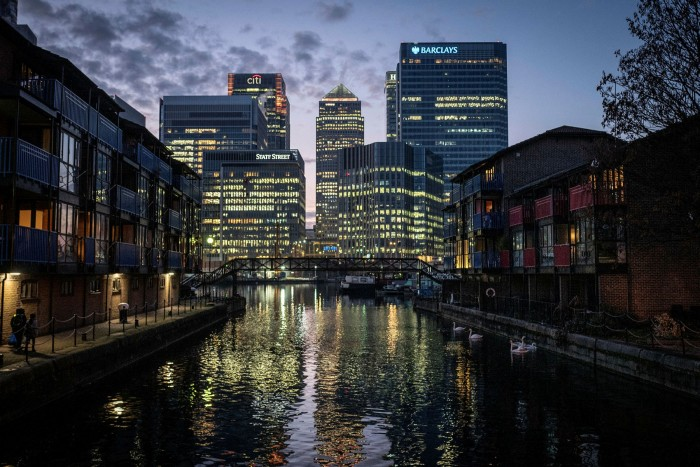 The viability of London's Canary Wharf business district is at stake, with rail passenger numbers at just 29% of their peak as staff work from home and some businesses move operations to Europe and elsewhere after Brexit