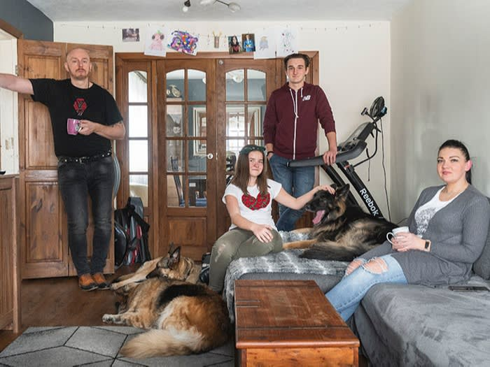 From left: Marcin, Karina, Kasper and Alicja Poltorak at their home in Preston, last month. Marcin says Britain has been good for him, but describes Brexit as 'a sad moment'