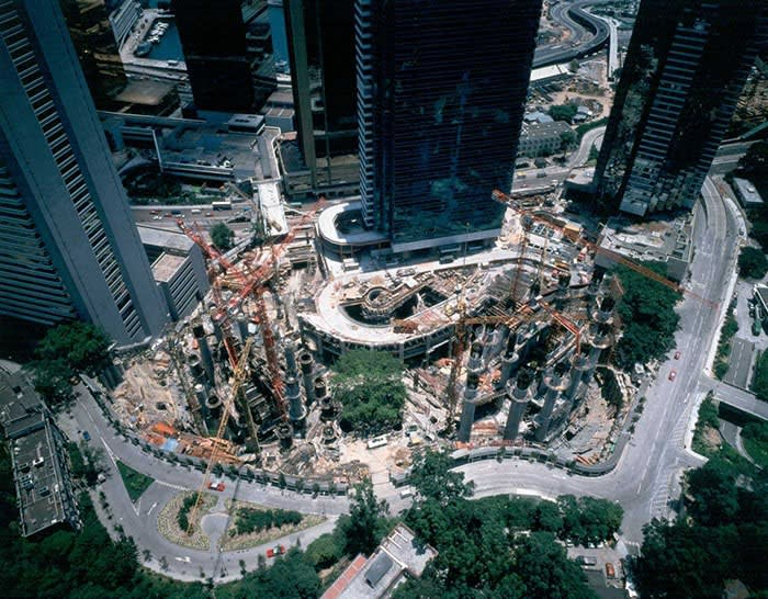Swire's Pacific Place under construction in Hong Kong in the 1980s