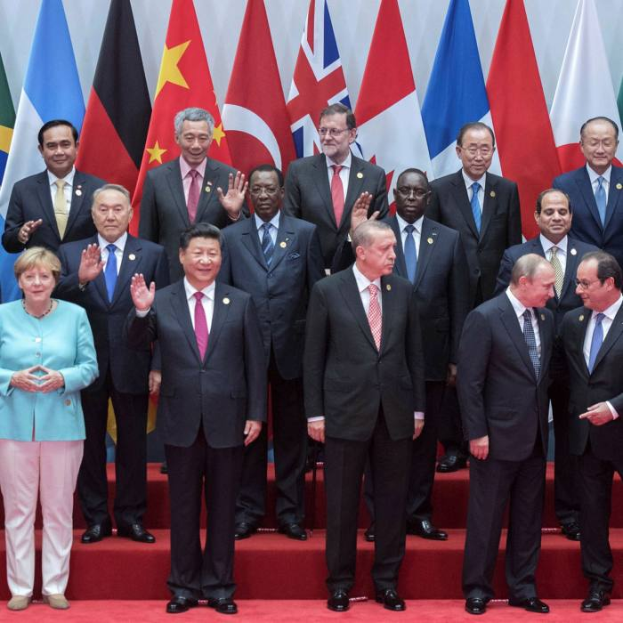 China's president Xi Jinping with other world leaders at the G20 summit in Hangzhou in 2016. Mr Xi was said to be irked that some guests sought meetings with Jack Ma during the event