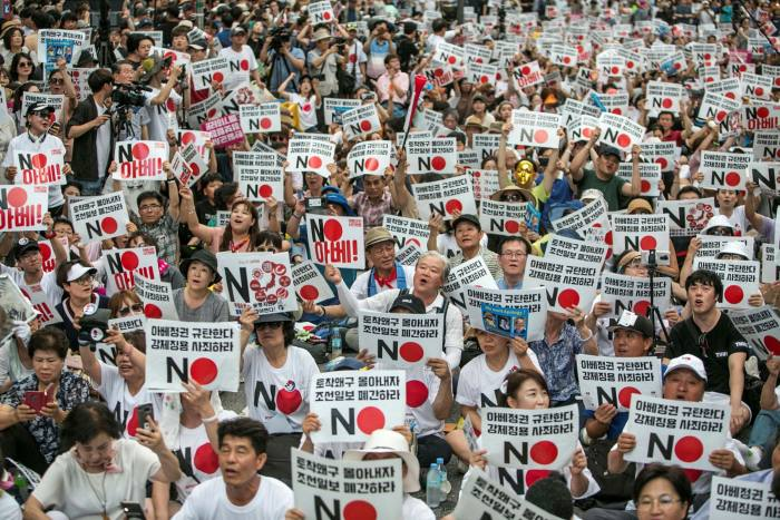 Protesters in Seoul demonstrate against Japan's removal of South Korea from a list of trusted trading partners in 2019