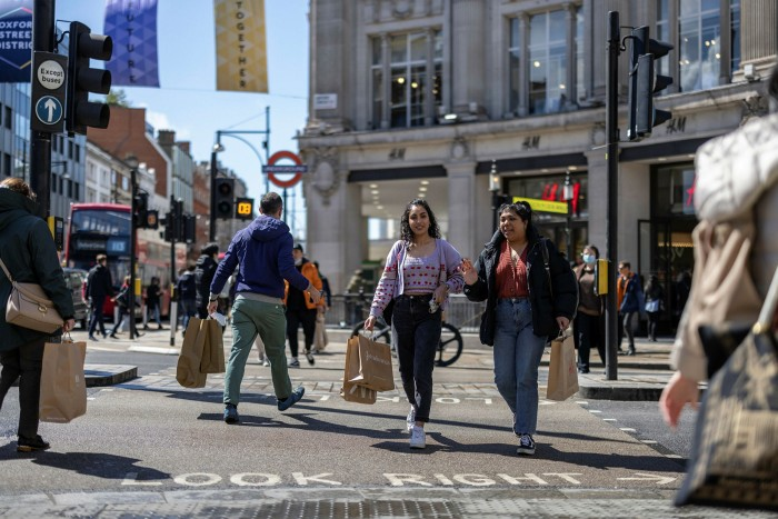 Oxford Street: the central shopping district has edged back to life, but without tourists to prop-up sales, Underground passenger numbers at Oxford Circus are at 39%of what they were — 35,422 people daily