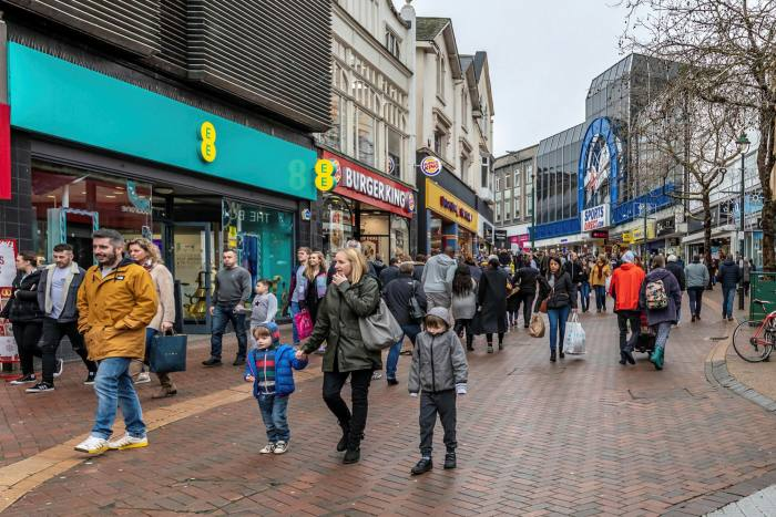 Shoppers in central Bournemouth in 2018