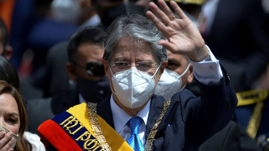 Ecuador's new president strikes sombre note at his swearing-in