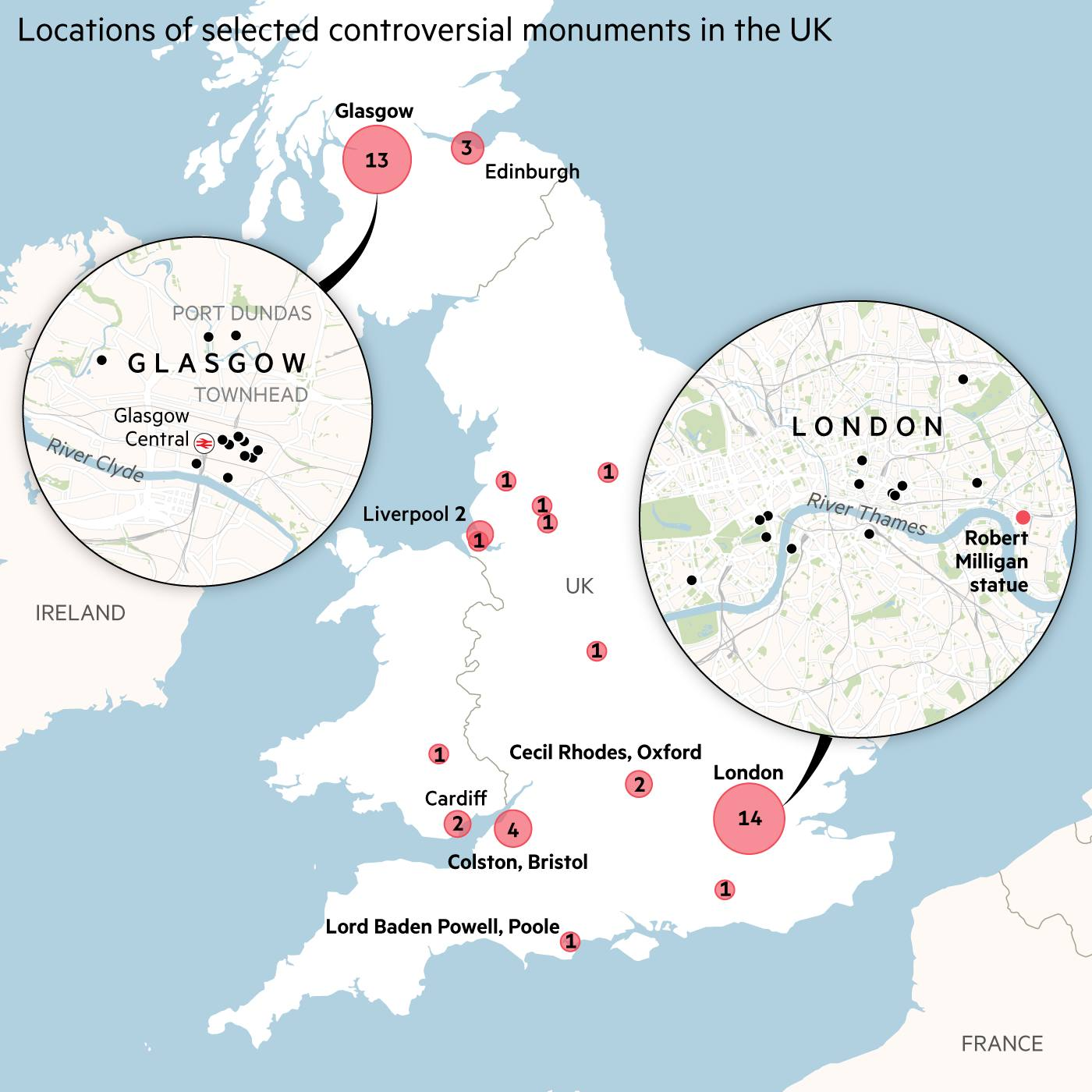 Map showing the locations of selected controversial monuments in the UK, highlighting 14 in London and 13 in Glasgow.